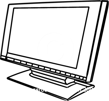 350x325 Computer Clipart Black And White