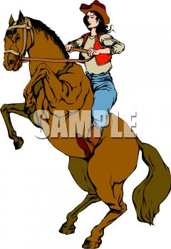 240x350 Royalty Free Clip Art Image Cowgirl On A Rearing Horse