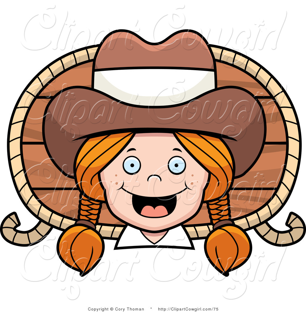 1024x1044 Clipart Of A Happy Red Headed Cowgirl With Braids Over A Wood