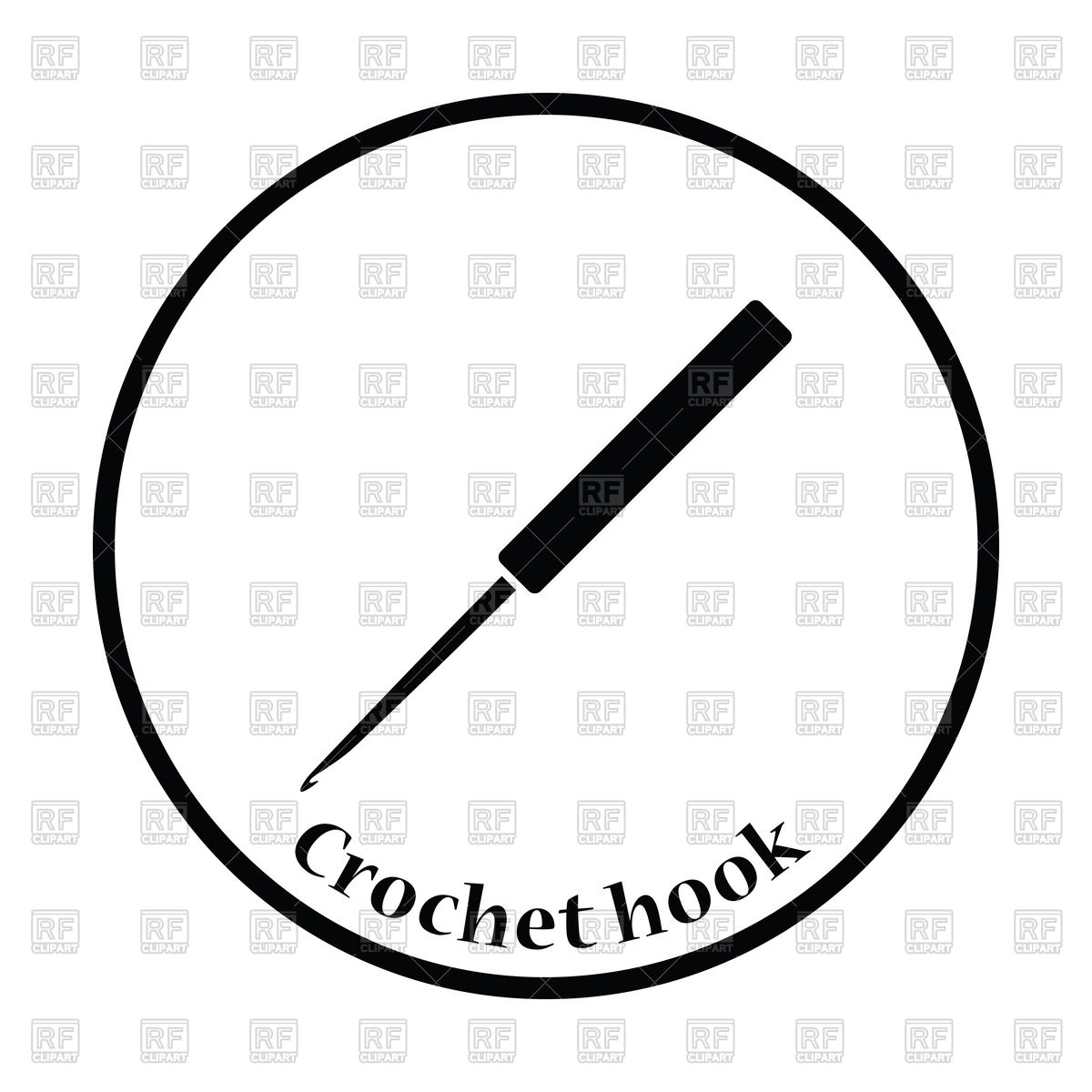 1200x1200 Crochet Hook Icon Royalty Free Vector Clip Art Image