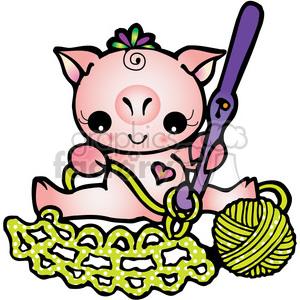 300x300 Royalty Free Pig Crochet 387726 Vector Clip Art Image