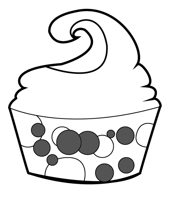 600x703 Cupcake Outline Outline Of Cupcake With Face Free Download Clip