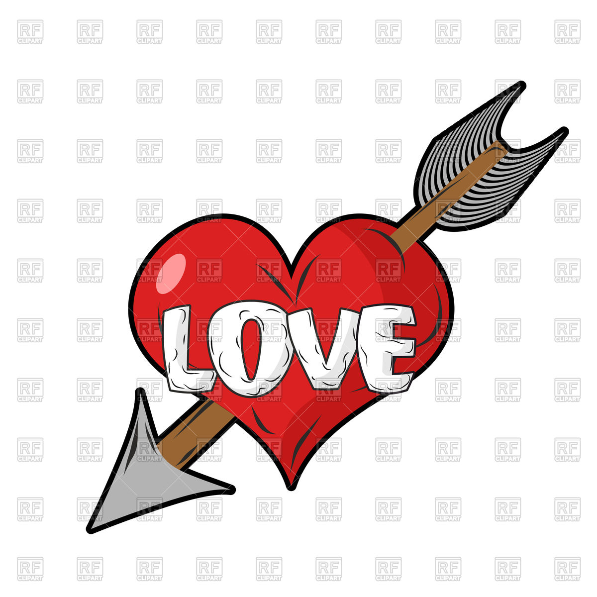 1200x1200 Red Heart And Arrow Of Cupid Royalty Free Vector Clip Art Image