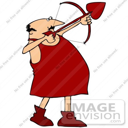 450x450 Clip Art Graphic Of A Caucasian Cupid Man In Red, Aiming A Love