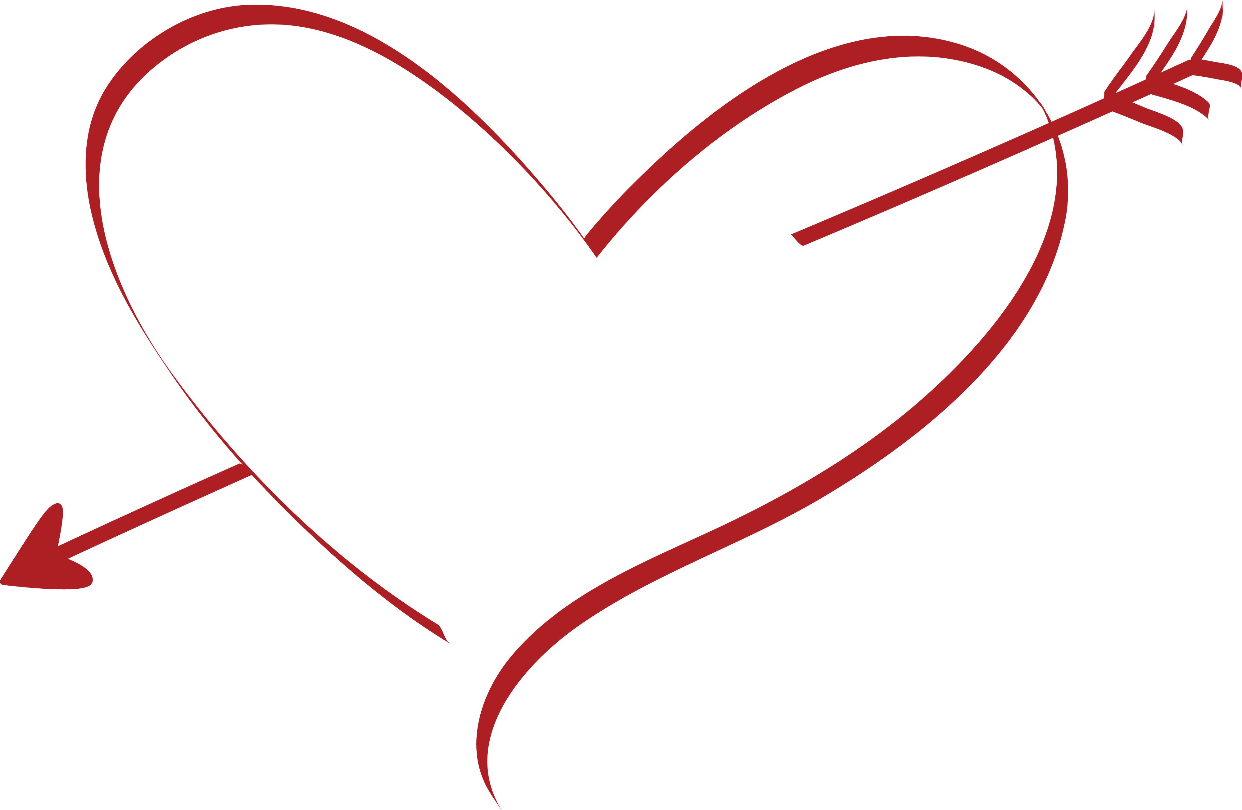 4000x2610 Clipart Of A Cupid Arrow Heart