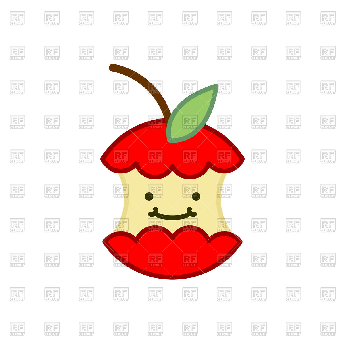 1200x1200 Red Apple Core Cute Cartoon Icon Royalty Free Vector Clip Art