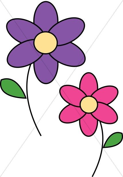428x612 Pink And Purple Daisies Church Flower Clipart