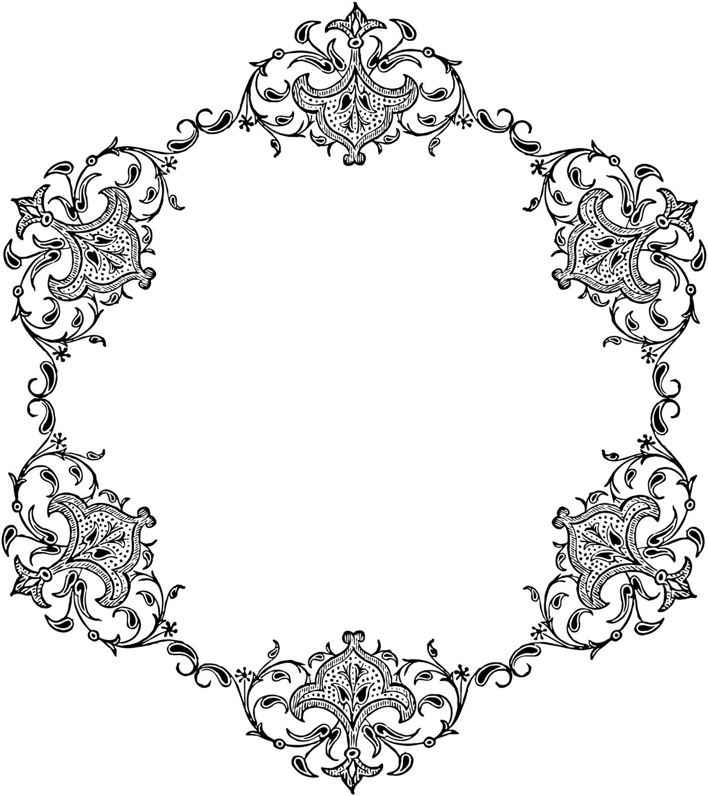 1423x1600 Damask Clipart Decorative
