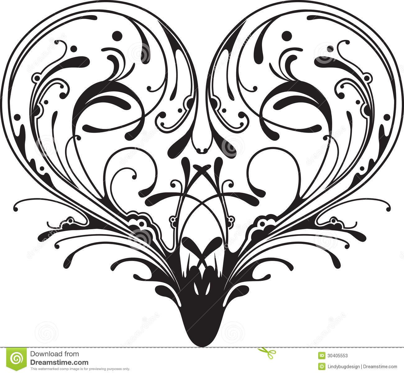1300x1207 Damask Clipart Heart Filigree