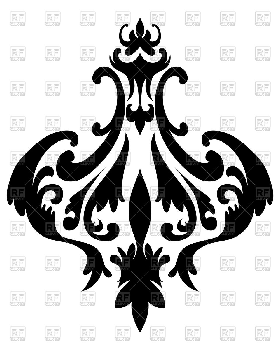960x1200 Emblem In Damask Style Royalty Free Vector Clip Art Image