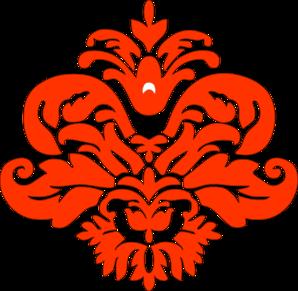 298x291 Orange Damask Clip Art