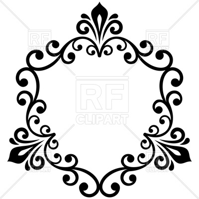 400x400 Oriental Black Damask Lace Royalty Free Vector Clip Art Image