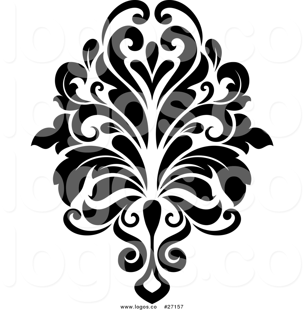 1024x1044 Royalty Free Vector Logo Of A Black And White Arabesque Damask By