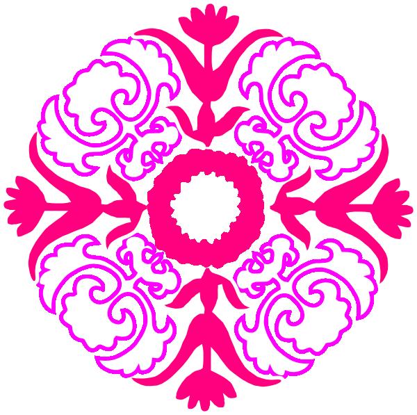 600x597 Damask Flourish Pink Orange Clip Art