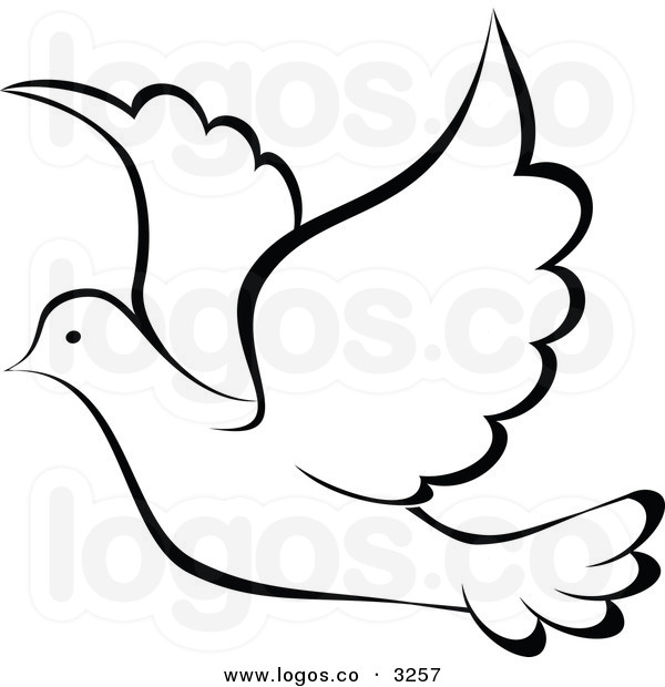 600x620 Black And White Dove Clipart