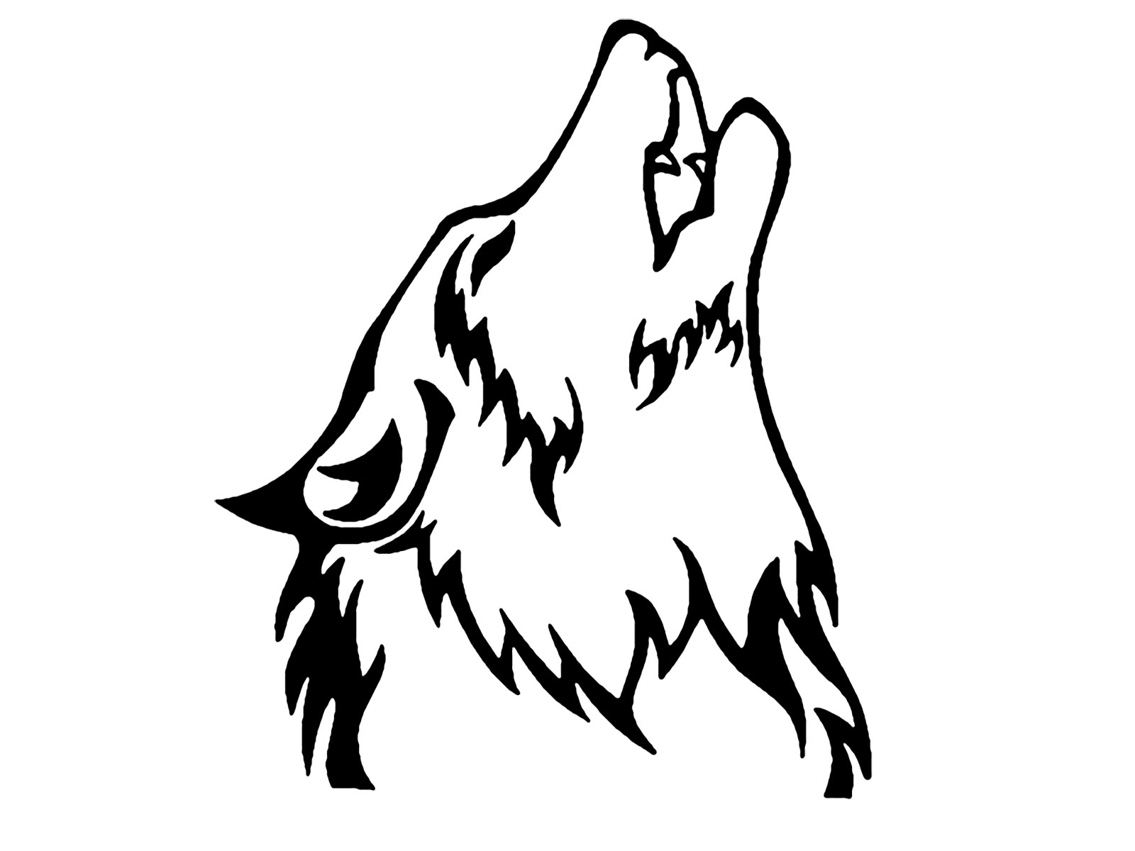1600x1200 Black And White Drawings Of Wolves Wolf Howling Clipart Free