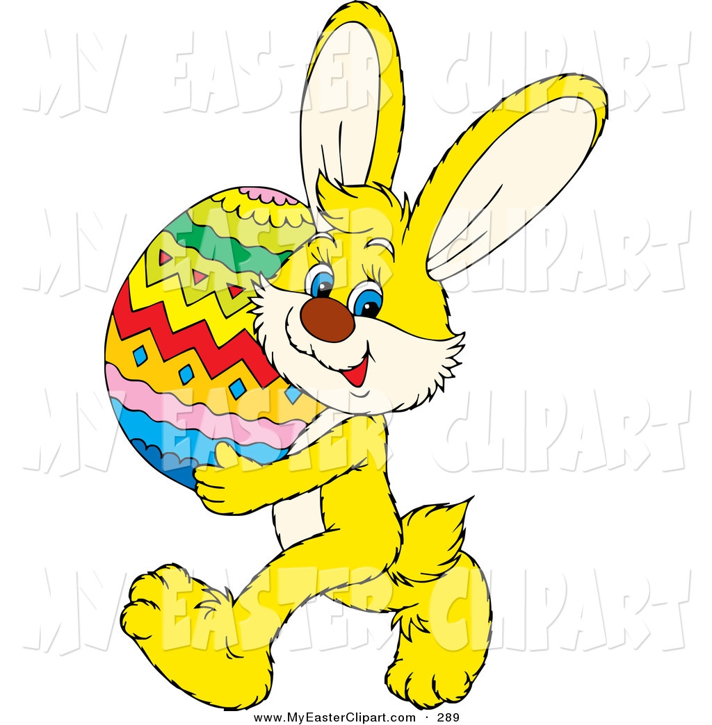 1024x1044 Clip Art Of A Cute Yellow Bunny Rabbit Carrying A Large Colorful
