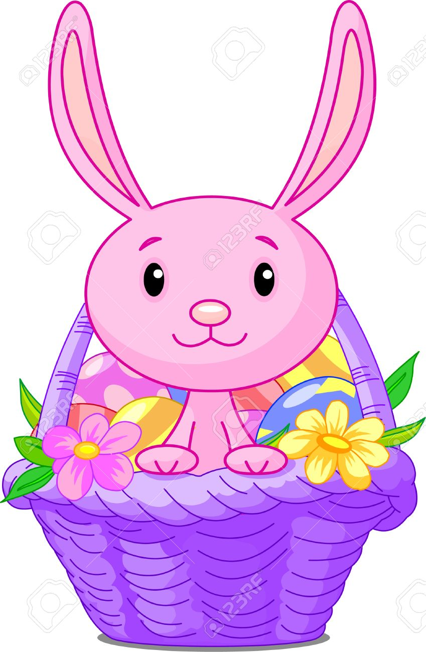 849x1300 Clipart Easter Basket Bunny