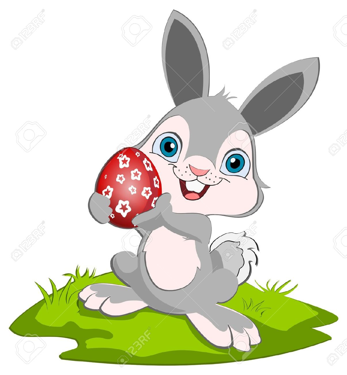 1204x1300 Easter Bunny Holding O Rad Easter Egg And Smiling. Royalty Free