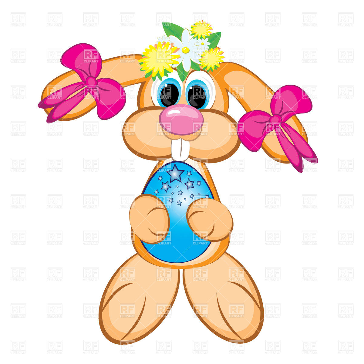 1200x1200 Easter Bunny Girl With Festive Egg Download Royalty Free Vector