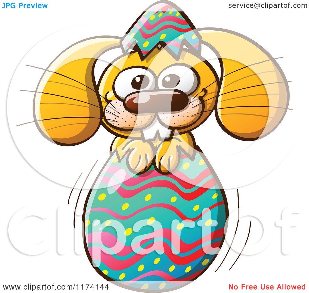 1080x1024 Cartoon Of A Happy Easter Bunny Breaking Through An Egg