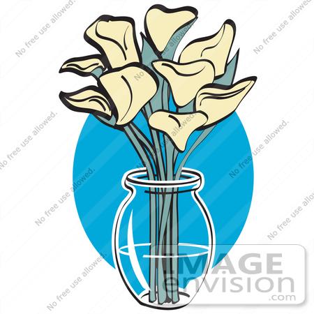 450x450 Royalty Free Cartoon Clip Art Of A Bunch Of Cream Calla Lilies