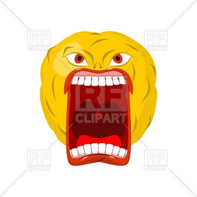 400x400 Emoticon Screams. Open Mouth And Teeth. Crazy Emoji. Royalty Free