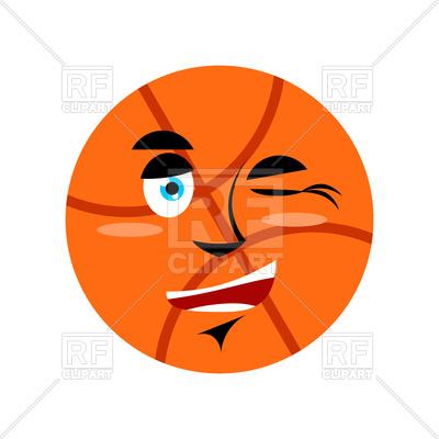 400x400 Basketball Winking Emoji Royalty Free Vector Clip Art Image
