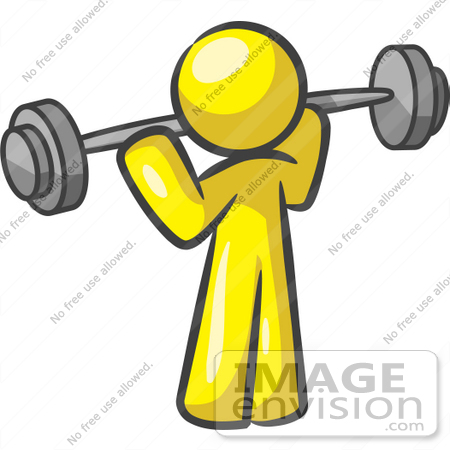 450x450 Cliprt Graphic Of Yellow Guy Character Exercising