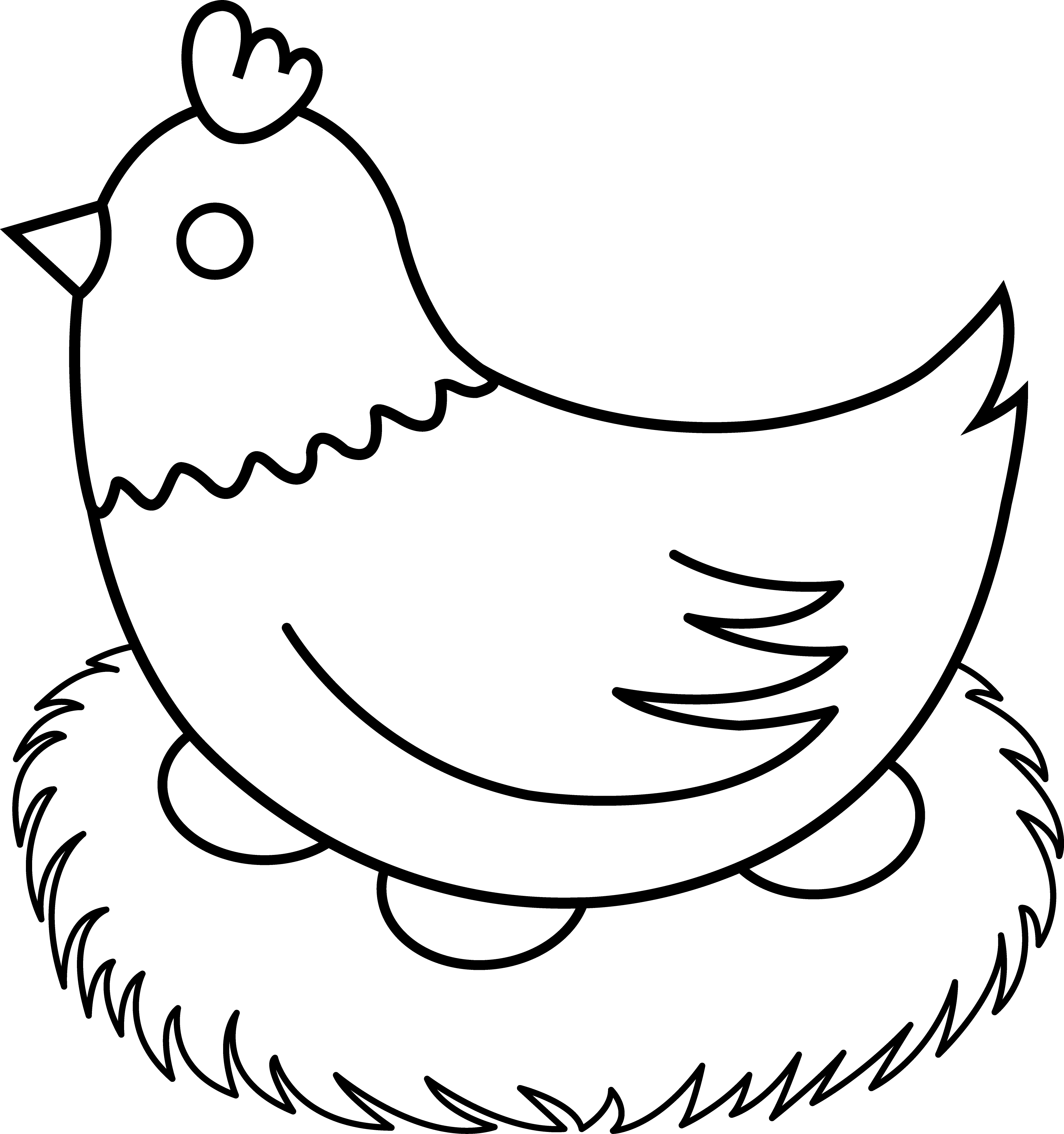 3610x3848 Hen With Nest Line Art