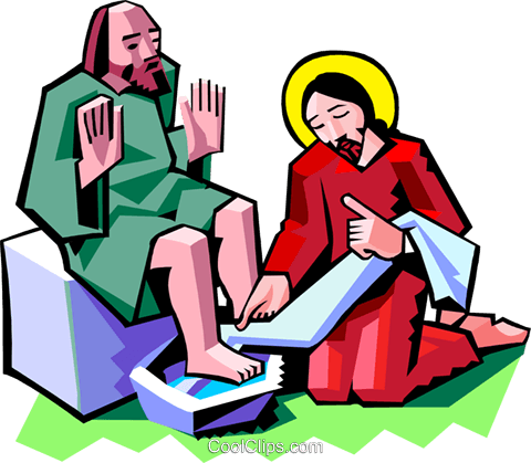 480x419 Jesus Washing The Feet Of A Disciple Royalty Free Vector Clip Art