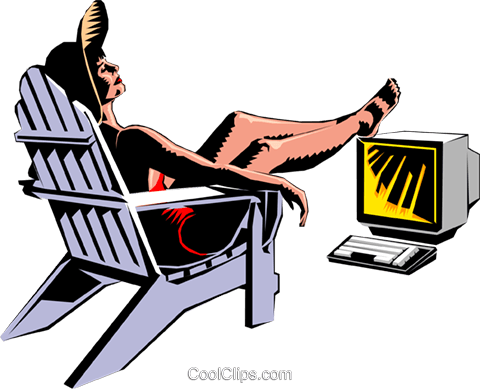 480x389 Sunbather With Feet On Computer Royalty Free Vector Clip Art
