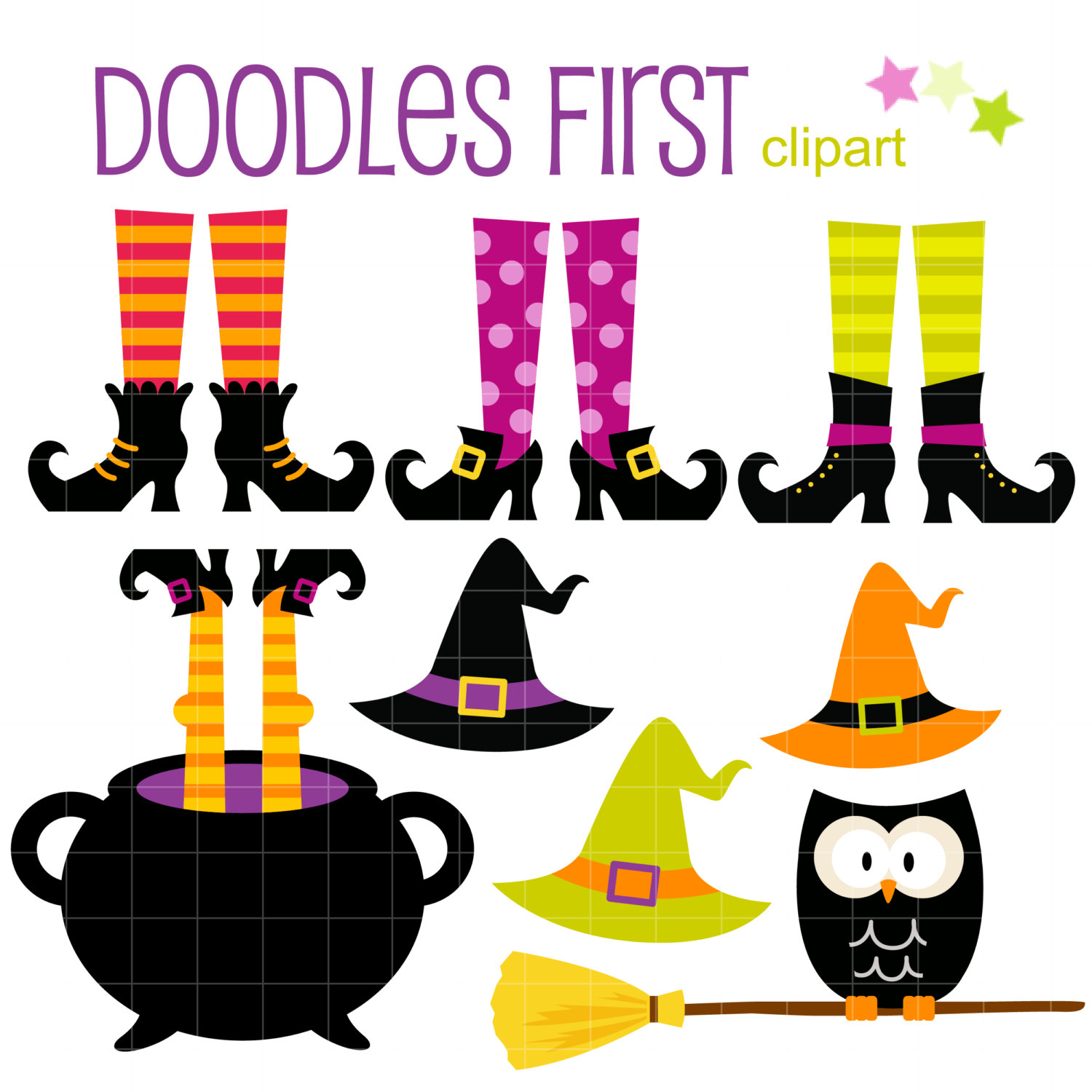 1500x1500 Witch Feet And Hats Halloween Digital Clip Art
