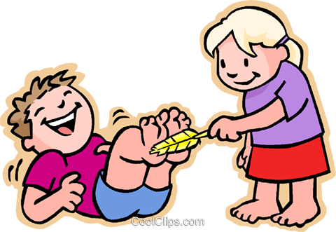 480x331 Girl Tickling Boy On Feet Royalty Free Vector Clip Art