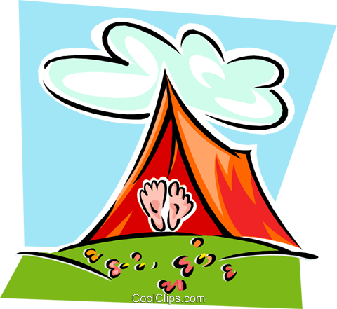 480x441 Tent With Feet Exposed Royalty Free Vector Clip Art Illustration