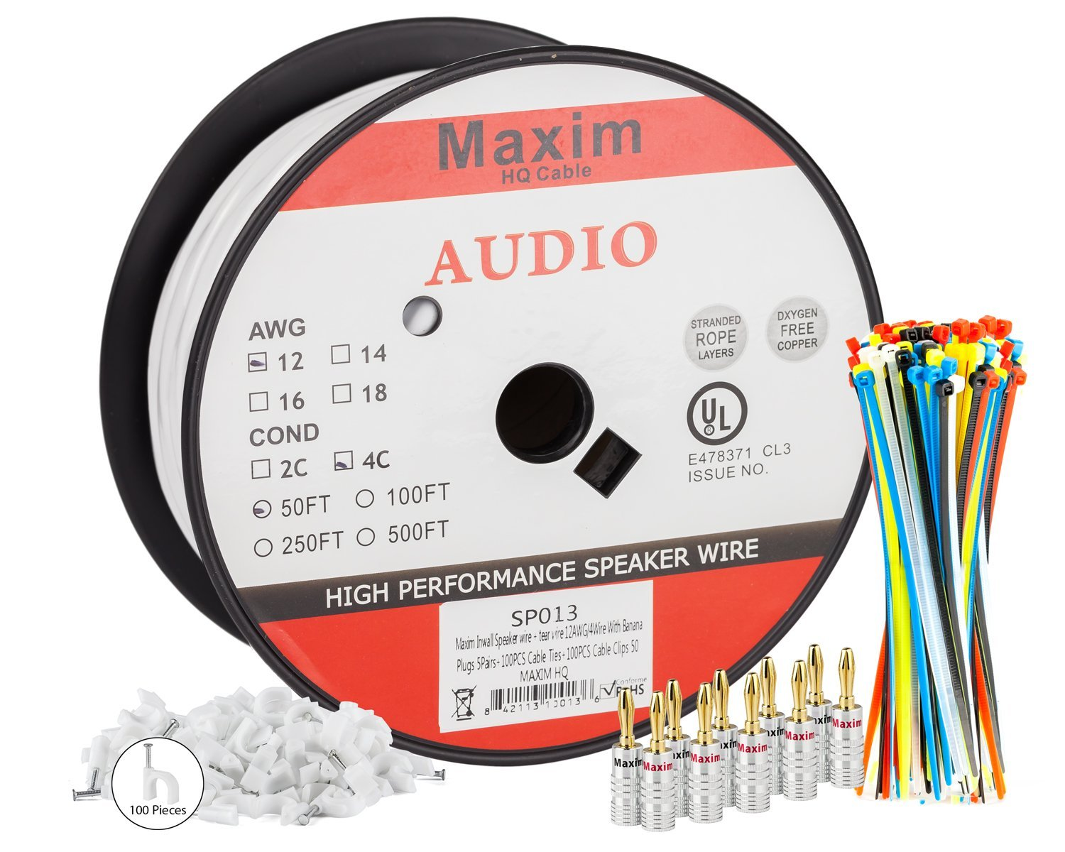 1500x1200 In Wall Speaker Wire 50 Feet 12awg Cl3 Rated 4
