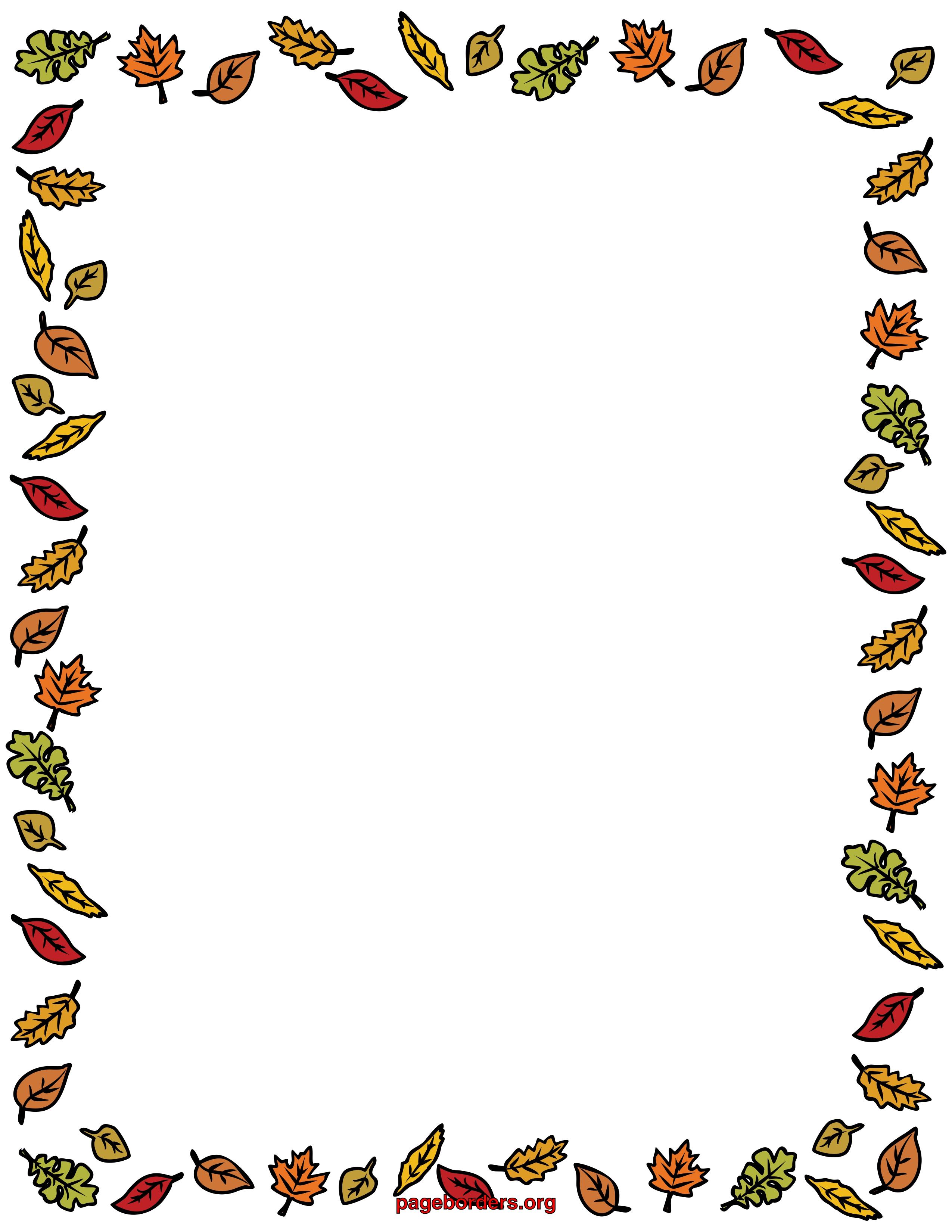 2550x3300 Fall Flower Border Clipart