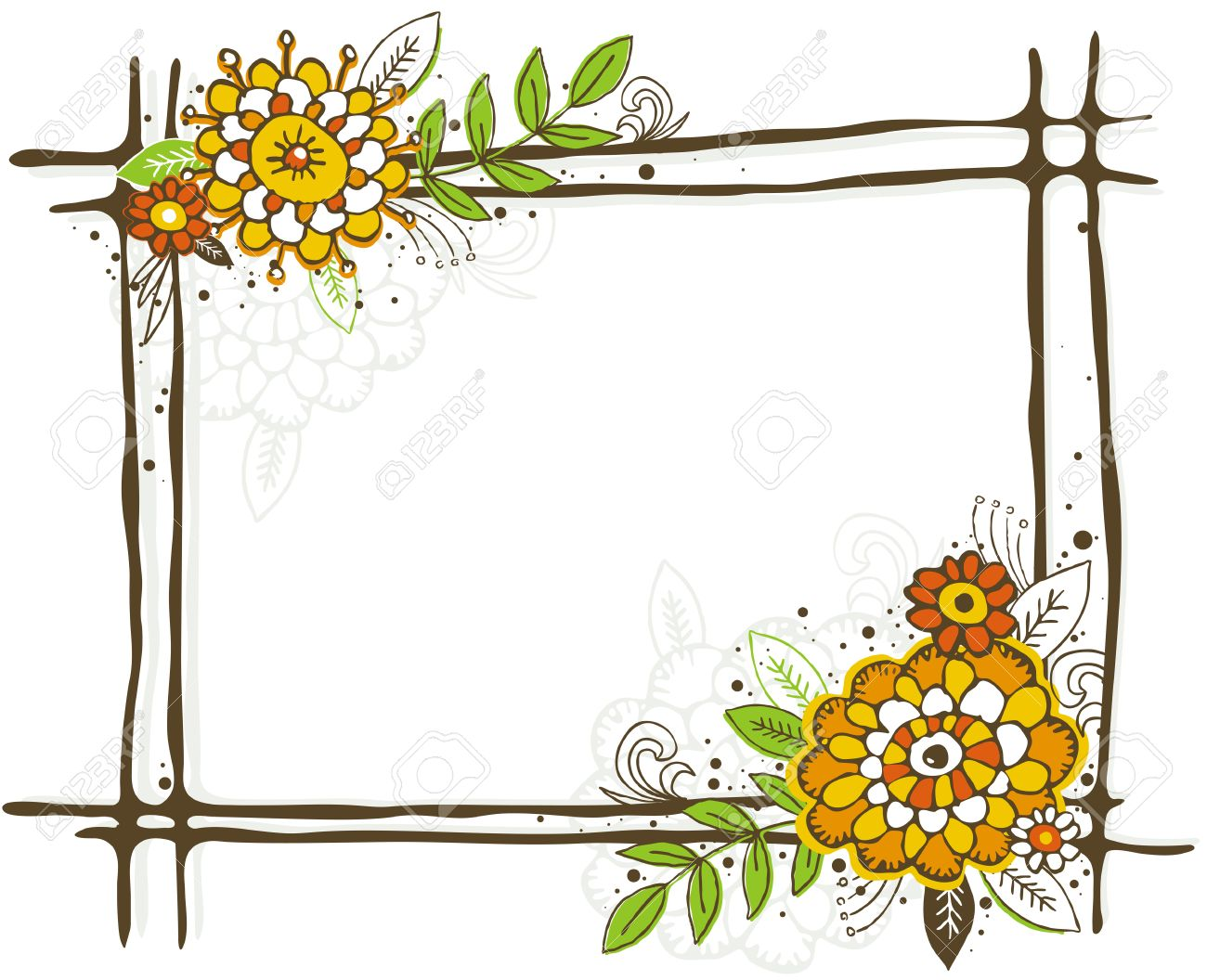 1300x1056 Clipart Flower Borders And Frames