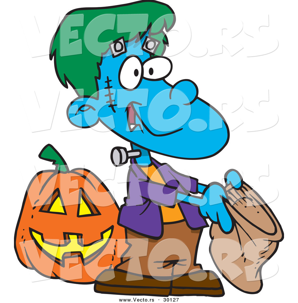 1024x1044 Vector Of A Cartoon Frankenstein Boy Trick Or Treating For Candy