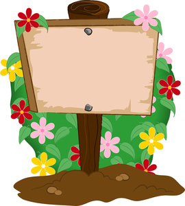 270x300 Garden Clipart Image Wooden Sign Planted In A Flower Garden Image