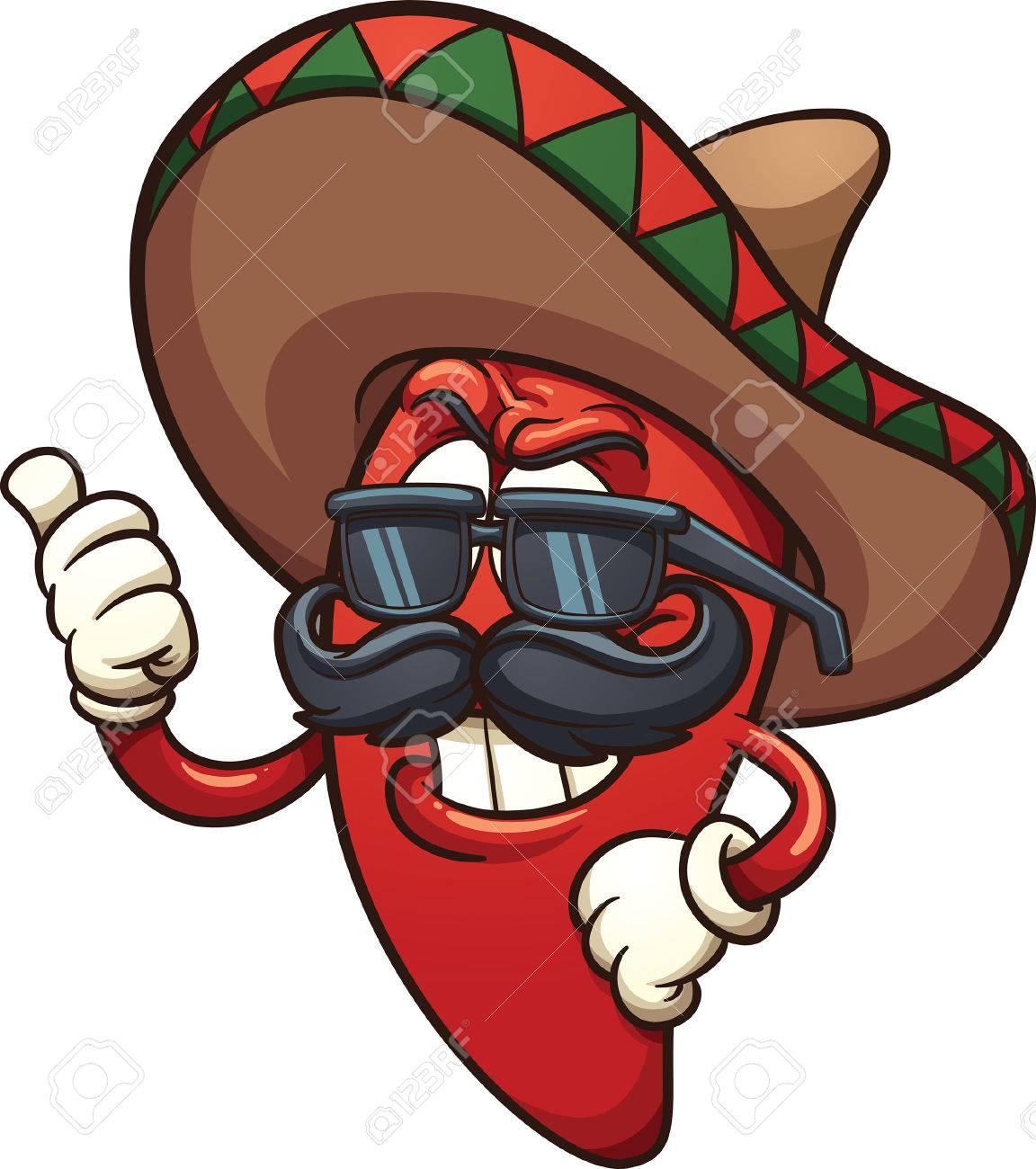1152x1300 Cool Mexican Chili Pepper. Vector Clip Art Illustration