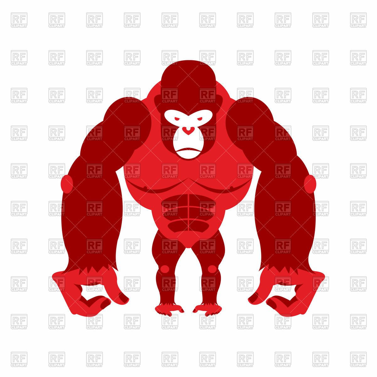 1200x1200 Red Gorilla Royalty Free Vector Clip Art Image