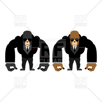400x400 Big Strong Gorilla In Black Suit, Monkey