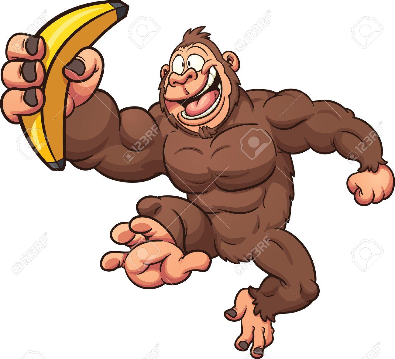 1300x1183 Cartoon Gorilla Banana. Vector Clip Art Illustration