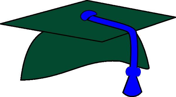 600x332 Green Graduation Cap Blue Tassel Clip Art