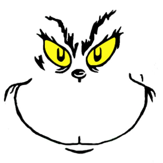 560x560 Grinch Black White Clipart 4