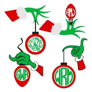 300x300 Christmas Grinch Hand With Bulb Monogram Cuttable Design Cut File