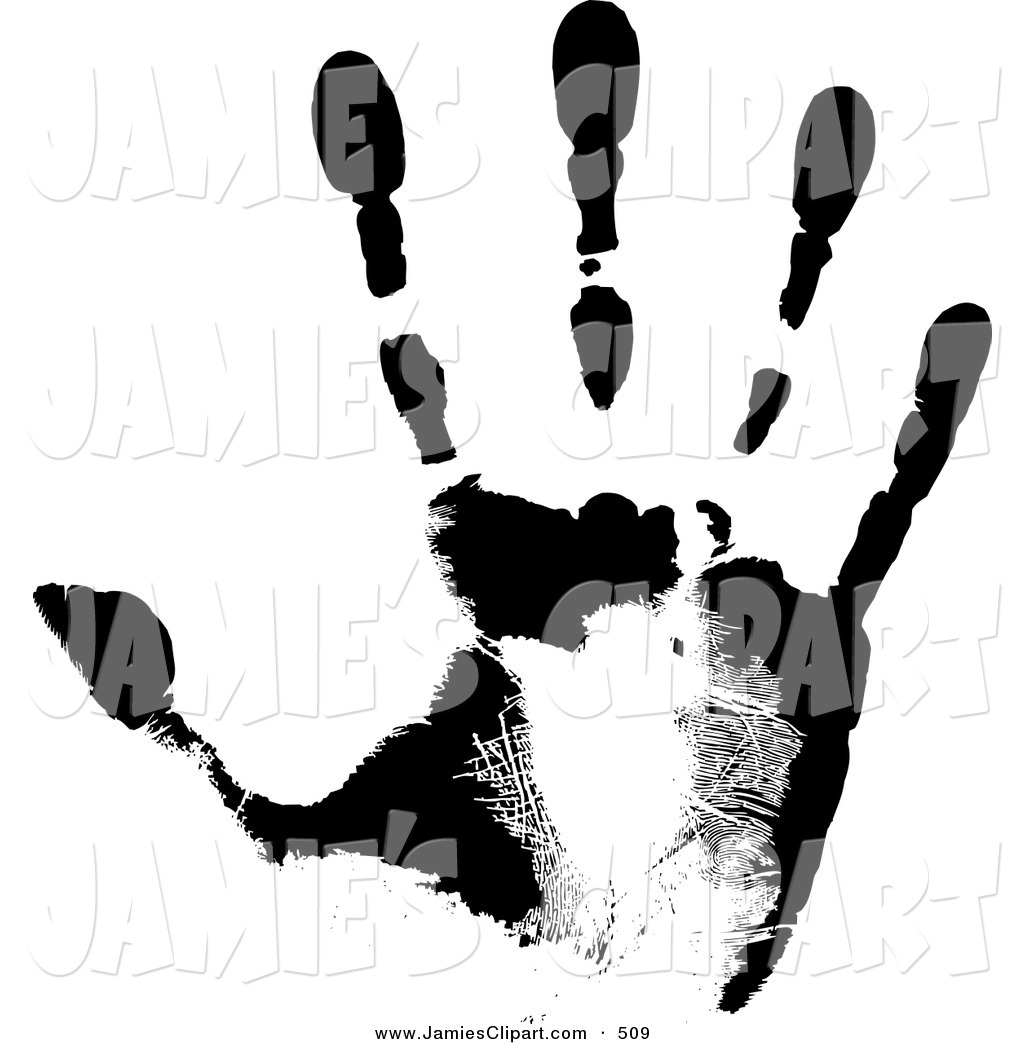 1024x1044 Clip Art Of A Black Hand Print Showing The Skin Patterns On White
