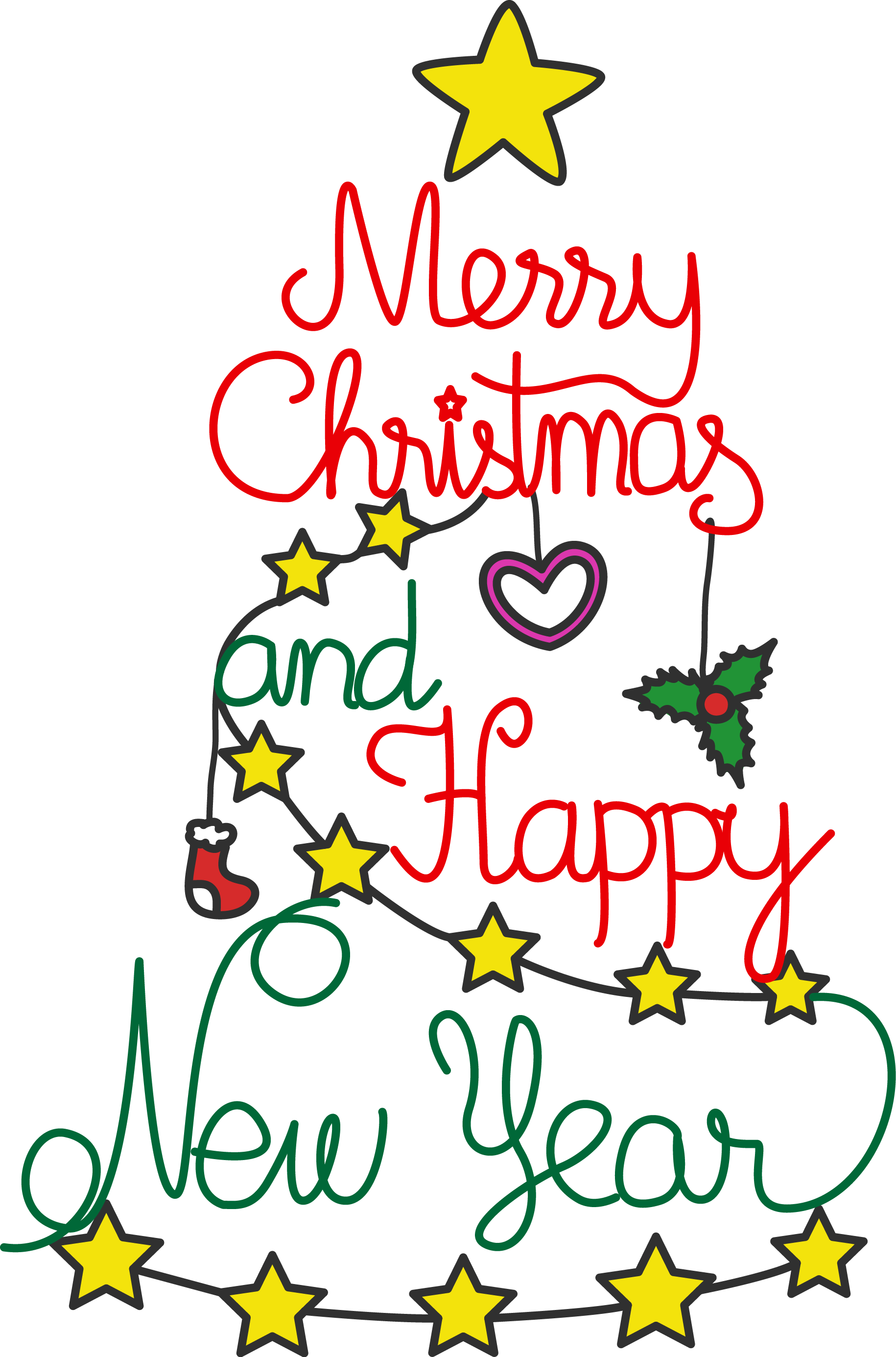 1830x2770 Free Merry Christmas And Happy New Year Celebration Clip Art