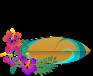 298x243 Surf Board Hibiscus Clip Art